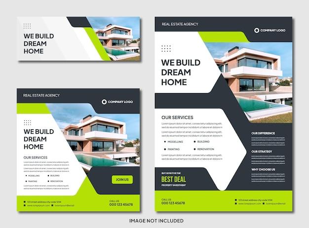 Satz bearbeitbarer moderner immobilien-immobilienbroschüre und instagram-post-vorlage