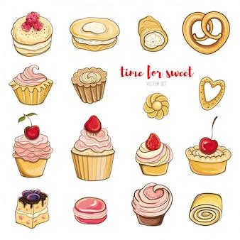 Satz beeren, schokoladenkuchen mit sahne. helle vektorillustration von gebäck und süßigkeiten. isolierte objekte.