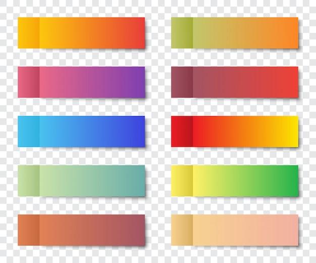 Satz beitragsnotizaufkleber mit schatten auf einem transparenten