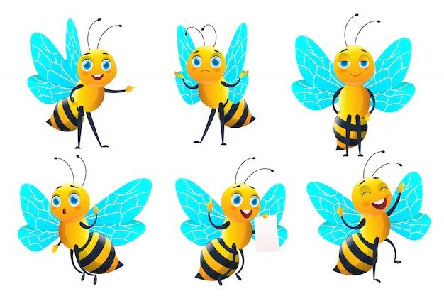 Satz bienencharakter und biene mit honig