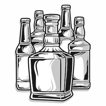 Satz bierflaschen, schwarz und weiß, isoliert auf weiß