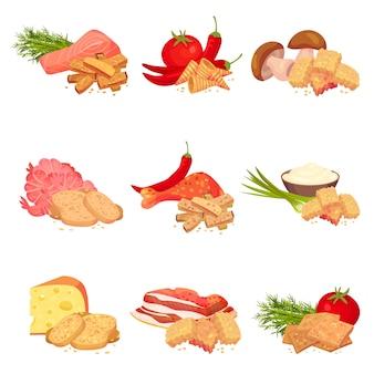 Satz bilder von crouton-brotstücken mit unterschiedlichem geschmack. pfeffer, garnelen, zwiebeln, speck, pilze, käse, tomaten, chili, sauerrahm.