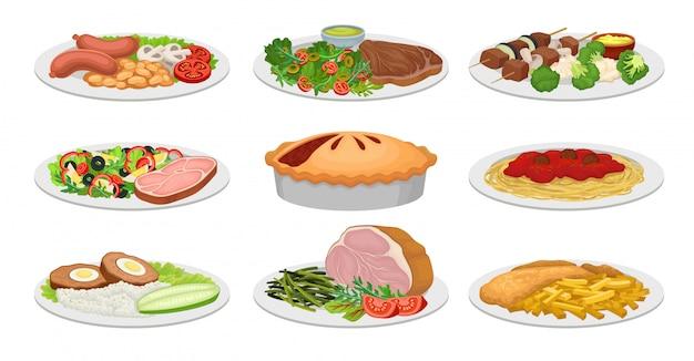Satz bilder von fertiggerichten. pirg, nudeln, fleischbällchen, kotelett, speck, schinken. vektorillustration