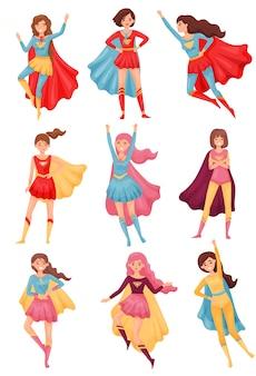 Satz bilder von frauen in roten und blauen superheldenkostümen. illustration auf weißem hintergrund.
