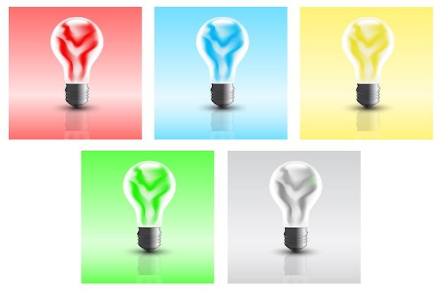 Satz bilder von glühbirnen, die mit energie aus einer alternativen quelle betrieben werden
