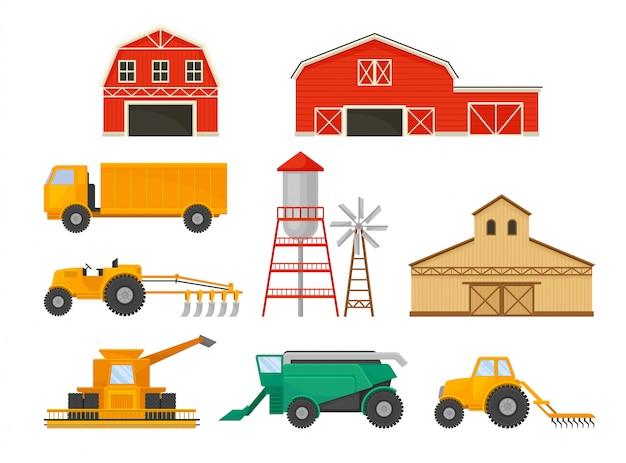 Satz bilder von landwirtschaftlichen fahrzeugen und gebäuden. scheune, pumpstation, lkw, traktor, mähdrescher.