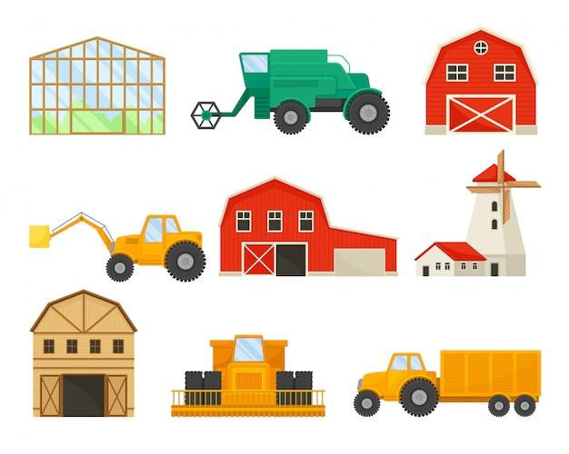 Satz bilder von transport und gebäuden für die landwirtschaft. gewächshaus, schuppen, mühle, mähdrescher, traktor.