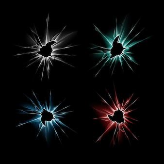 Satz blau rot grün zerbrochener riss glasfenster riss mit scharfen kanten nahaufnahme auf dunkelschwarzem hintergrund