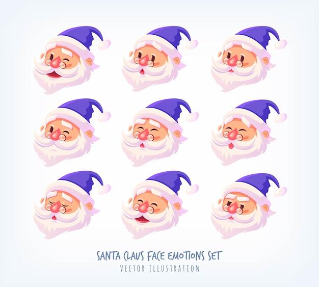 Satz blaue anzug santa claus gesicht emotionen ikonen nette karikatur gesichter sammlung frohe weihnachten illustration