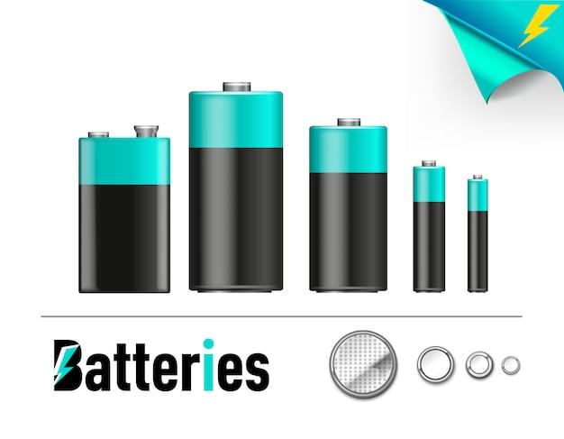 Satz blaue realistische anzeigen des batteriestands verschiedener größen. illustrationssymbol