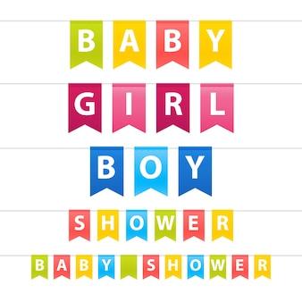 Satz blaue rosa gewellte jungen- und mädchen-babypartygirlande mit flaggen.