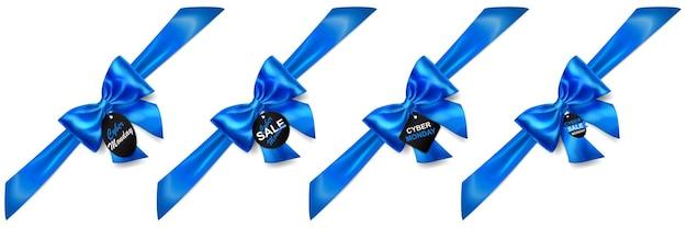 Satz blaue schleifen mit diagonalen bändern, schatten und verkaufsetiketten und -tags auf weißem hintergrund