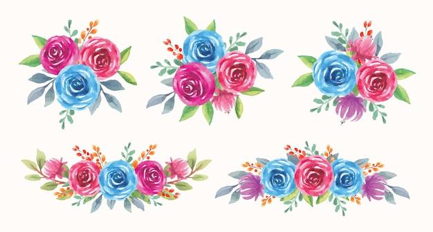 Satz blaue und violette blumenarrangement-aquarellillustration