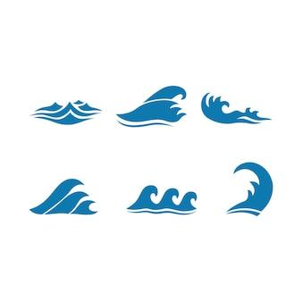 Satz blaue wellenikonen lokalisierte weiße hintergrundvektorillustration