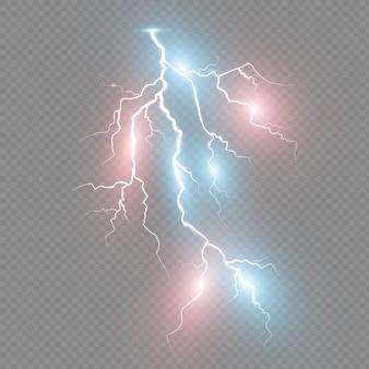 Satz blitze. gewitter und blitze. magische und helle lichteffekte. illustration