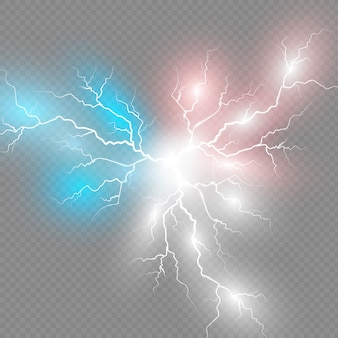 Satz blitze. gewitter und blitze. magische und helle lichteffekte
