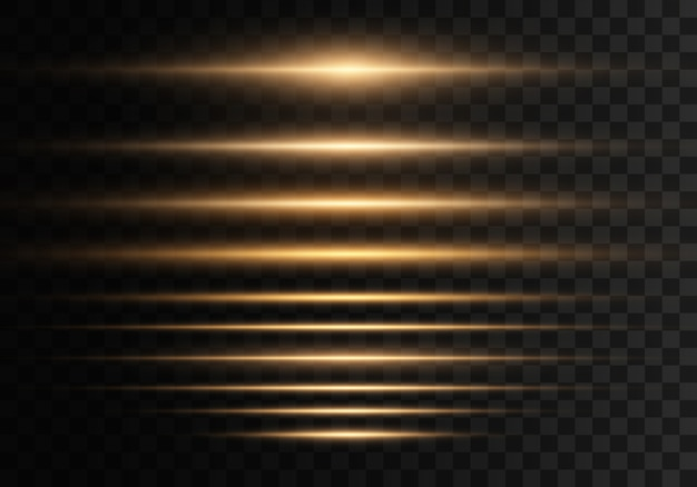 Satz blitze, lichter, funkelt auf transparentem hintergrund. hellgoldene blendungen. abstrakte goldene lichter isoliert. gelbe horizontale linseneffektpackung. laserstrahlen, horizontale lichtstrahlen, linien.