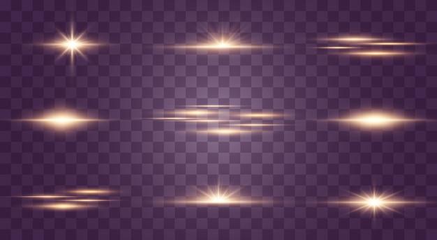 Satz blitze, lichter und funkeln auf einem transparenten hintergrund. helles gold blitzt und funkelt. abstrakte goldene lichter isoliert helle lichtstrahlen. leuchtende linien.