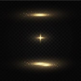 Satz blitze, lichter und funkeln. helle blitze und blendungen. abstrakte lichter isoliert helle lichtstrahlen. leuchtende linien.
