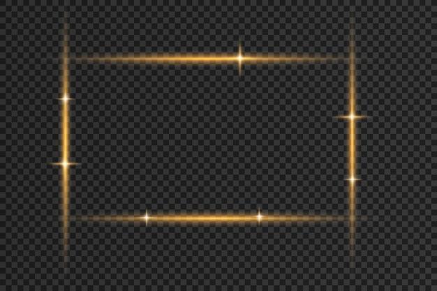 Satz blitze, lichter und funkeln. helles gold blitzt und funkelt. abstrakte goldene lichter isoliert