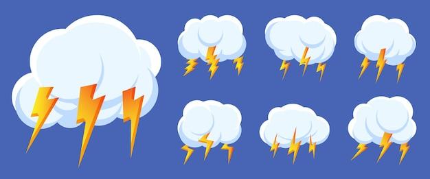 Satz blitzgewitterwolkenikonen. zeichen logo sturm, donner und blitze schlagen. design symbol wetter für web oder app. unterschiedliches schnelles glänzendes schockblitzzeichen isoliert