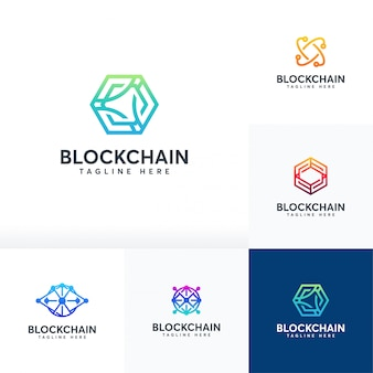 Satz blockchain-logo, technologie-logo-symbol