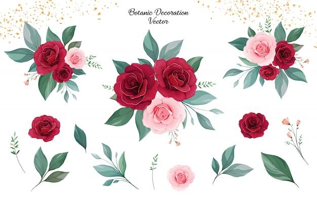 Satz blumenarrangements von pfirsich- und burgunderrosenblumen und -blättern.