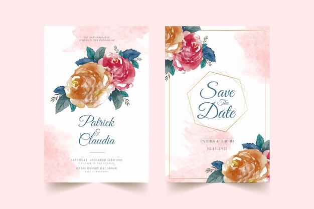 Satz blumenhochzeitseinladungskartenschablone mit rosenblume und verlässt premium-vektor