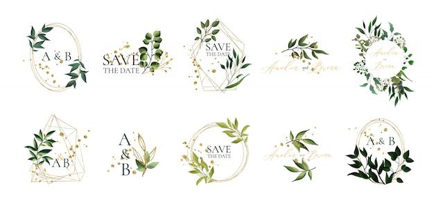 Satz blumenhochzeitslogos und -monogramm mit goldenem geometrischem dreieckigem rahmen der eleganten grünen blätter für einladung retten das datumskartendesign. botanische vektorabbildung