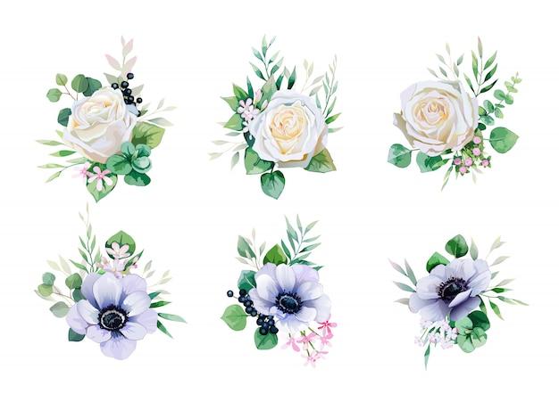 Satz blumensträuße des grüns und der weißrose für die heirat laden oder grußkarte ein.