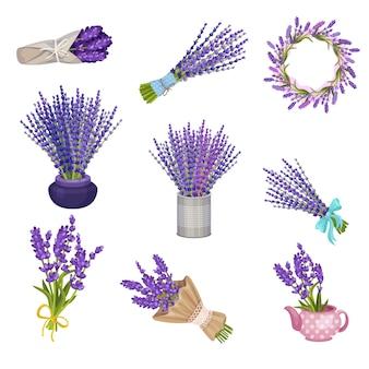 Satz blumensträuße und kränze aus lavendel