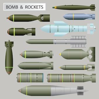 Satz bombe und raketen