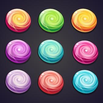 Satz bonbons in verschiedenen farben für computerspiele