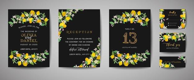 Satz botanische hochzeitseinladungskarte, vintage save the date, template-design von zitronenfruchtblumen und -blättern, blütenillustration. trendiges vektorcover, grafisches poster, broschüre