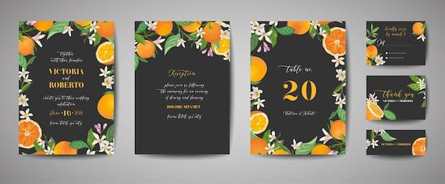 Satz botanische hochzeitseinladungskarte, vintage save the date, vorlagendesign von orange, zitrusfrüchten, blumen und blättern, blütenillustration. trendiges vektorcover, grafisches poster, broschüre