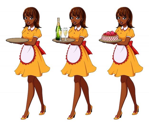 Satz braune behaarte kellnerinnen, die champagner und kuchen, tragendes gelbes mädchenkostüm halten