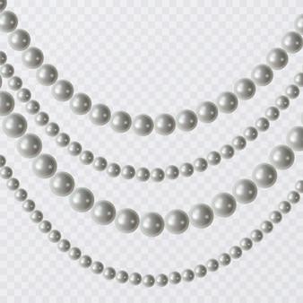 Satz brautperlen, weinlesezubehörhalskette isolierte muster. elegante luxusdekoration, realistische darstellung von perlen.