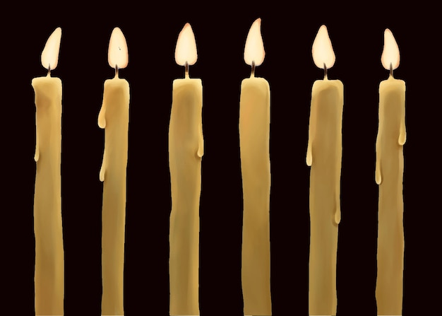 Satz brennende wachskerzen lokalisiert auf dunkelheit
