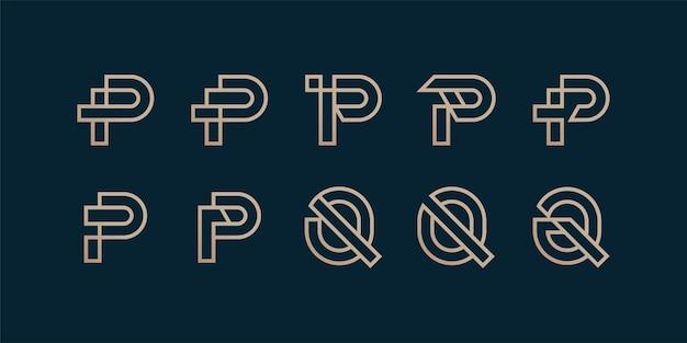 Satz brieflogosammlung mit anfänglichem p- und q-strichgrafikkonzept