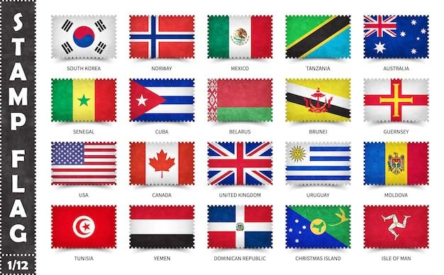 Satz briefmarken mit offiziellen landesflaggen