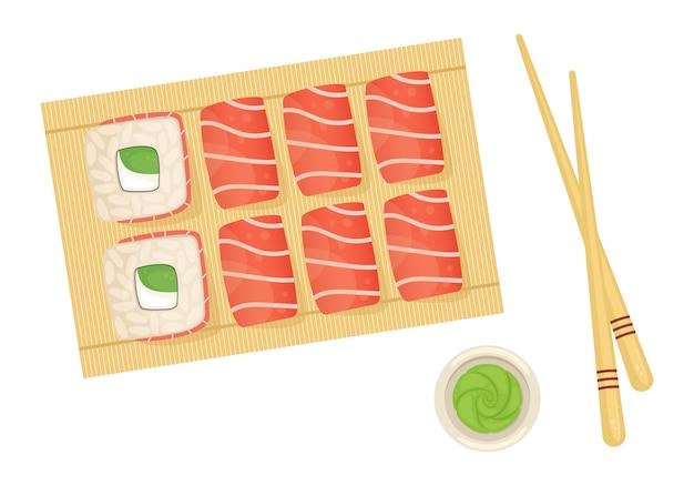 Satz brötchen mit lachs auf einem holzstab. japanisches essen mit lieferung.