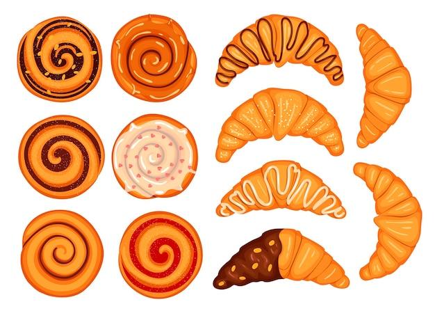 Satz brötchen mit schokolade und nüssen und croissants mit zuckerguss. illustration im cartoon-stil.