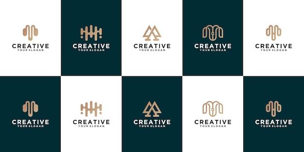 Satz buchstabe m linie logo design. lineares kreatives minimales monochromes monogramm