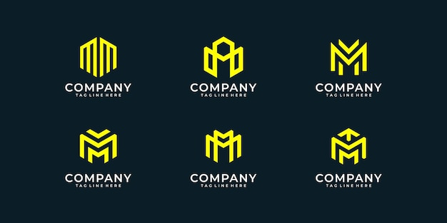 Satz buchstabe m monogramm-logo-design-sammlung