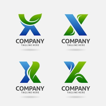 Satz buchstabe x blatt logo design
