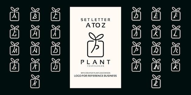 Satz buchstaben a bis z mit pflanzenornament-logo-design