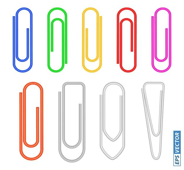 Satz büroklammern farbige oder realistische metallbüroklammern isoliert eps-vektor