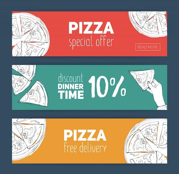 Satz bunte bannervorlagen mit handgezeichneter pizza, die in scheiben geschnitten wird.