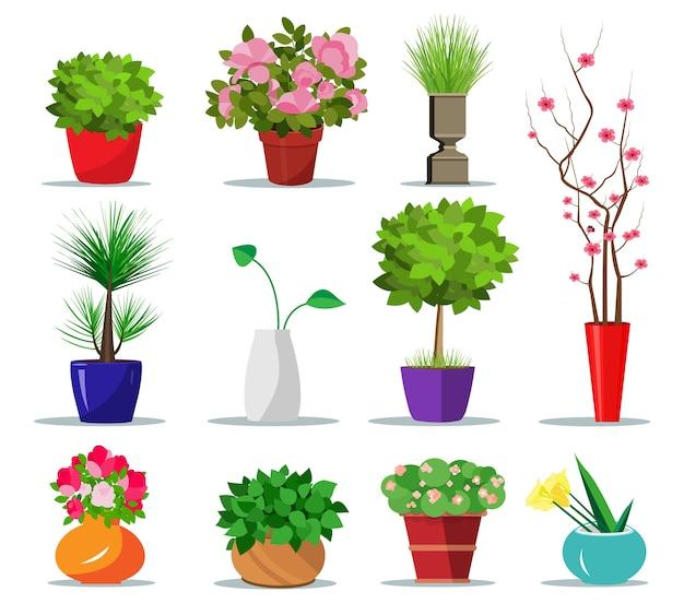 Satz bunte blumentöpfe für haus. innentöpfe für pflanzen und blumen. illustration. sammlung moderner blumentöpfe und vasen.