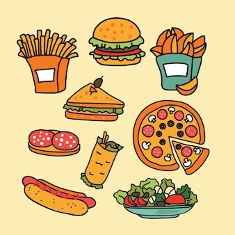 Satz bunte cartoon-fast-food-ikonen
